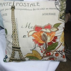 Floral Eiffel Tower Embroidered Accent Pillow